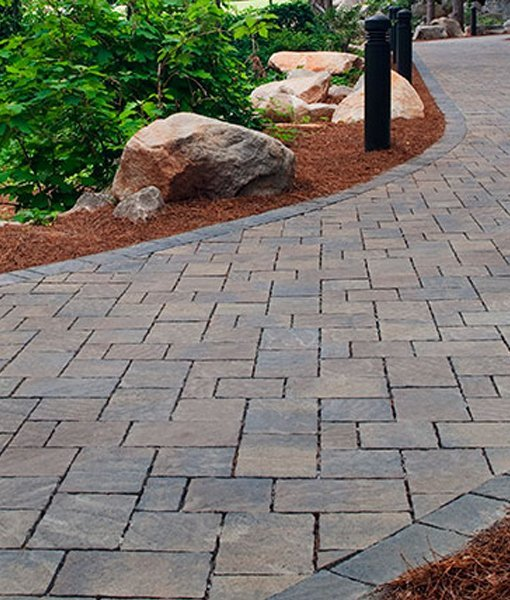 Urbana stone on the patio for Belgard urbana pavers